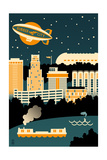 Akron, Ohio - Retro Skyline (no text) Prints by  Lantern Press