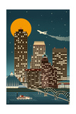 Memphis, Tennessee - Retro Skyline (no text) Poster by  Lantern Press