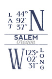 Salem, Oregon - Latitude and Longitude (Blue) Prints by  Lantern Press