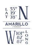Amarillo, Texas - Latitude and Longitude (Blue) Poster by  Lantern Press