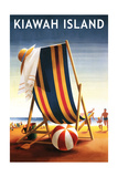 Kiawah Island, South Carolina - Beach Chair and Ball Print by  Lantern Press