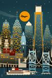 Philadelphia, Pennsylvania - Retro Skyline (no text) Posters by  Lantern Press