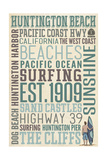 Huntington Beach, California - Typography Poster by  Lantern Press