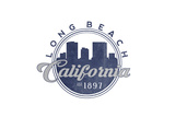 Long Beach, California - Skyline Seal (Blue) Poster by  Lantern Press