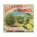 Glendora Oranges Brand - Azusa, California - Citrus Crate Label Prints by  Lantern Press