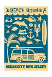 Ocean City, New Jersey - Coastal Icons Prints by  Lantern Press