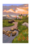 Moose and Meadow Art by  Lantern Press