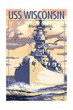 USS Wisconsin - Sunset Scene Art by  Lantern Press
