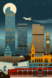 Denver, Colorado - Retro Skyline (no text) Prints by  Lantern Press