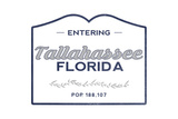 Tallahassee, Florida - Now Entering (Blue) Poster by  Lantern Press