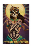 Fresno, California - Day of the Dead Crossbones Prints by  Lantern Press