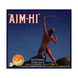 Aim Hi Brand - San Fernando, California - Citrus Crate Label Poster by  Lantern Press