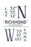 Richmond, Virginia - Latitude and Longitude (Blue) Prints by  Lantern Press