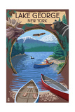 Lake George, New York - Canoe Scene Print by  Lantern Press
