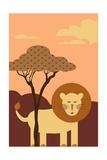 Simple Lion - Orange Posters by  Lantern Press