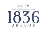 Salem, Oregon - Established Date (Blue) Posters by  Lantern Press
