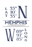 Memphis, Tennessee - Latitude and Longitude (Blue) Prints by  Lantern Press