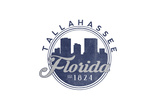 Tallahassee, Florida - Skyline Seal (Blue) Prints by  Lantern Press