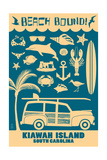 Kiawah Island, South Carolina (3) - Coastal Icons Posters by  Lantern Press