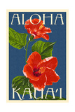 Kauai, Hawaii - Red Hibiscus Prints by  Lantern Press
