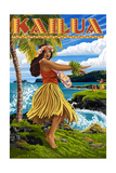 Kailua, Hawaii - Hula Girl on Coast Plakater af  Lantern Press