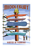 Middlebury, Vermont - Winter in Vermont Ski Signpost Premium Giclee Print by  Lantern Press