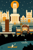 Ann Arbor, Michigan - Retro Skyline (no text) Print by  Lantern Press