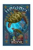 Kona, Hawaii - Sea Turtle Art Nouveau Poster by  Lantern Press