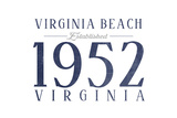 Virginia Beach, Virginia - Established Date (Blue) Prints by  Lantern Press