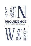 Providence, Rhode Island - Latitude and Longitude (Blue) Posters by  Lantern Press