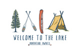 Welcome to the Lake - Adventure Awaits - Lake Icons Design Posters by  Lantern Press