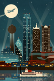 Dallas, Texas - Retro Skyline (no text) Posters by  Lantern Press