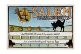 Salem, Massachusetts - Halloween Greeting - Cat on Fence - Vintage Artwork Posters by  Lantern Press