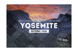 Yosemite National Park, California - Valley at Sunset Rubber Stamp Prints by  Lantern Press