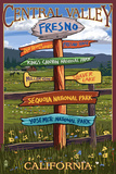 Fresno, California - Destination Signpost Posters by  Lantern Press