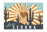Sedona, Arizona - Cathedral Rock and Cactus Posters by  Lantern Press