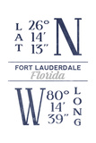 Fort Lauderdale, Florida - Latitude and Longitude (Blue) Posters by  Lantern Press