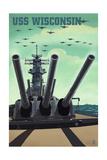 USS Wisconsin - Gun Battery Posters by  Lantern Press