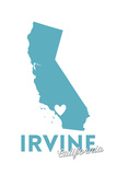 Irvine, California - State Outline and Heart Prints by  Lantern Press