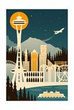 Seattle, Washington - Retro Skyline (no text) Prints by  Lantern Press