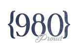 Charlotte, North Carolina - 980 Area Code (Blue) Poster by  Lantern Press