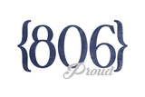 Amarillo, Texas - 806 Area Code (Blue) Prints by  Lantern Press