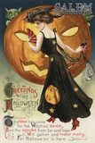 Salem, Massachusetts - Halloween Greeting - Witch Dancing and Pumpkin - Vintage Artwork Posters by  Lantern Press