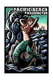 Pacific Beach, Washington - Mermaid - Scratchboard Prints by  Lantern Press