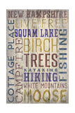 Squam Lake, New Hampshire - Barnwood Typography Art by  Lantern Press
