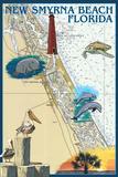 New Smyrna Beach, Florida - Nautical Chart Prints by  Lantern Press