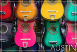 Austin, Texas - Acoustic Guitars on Wall Prints by  Lantern Press