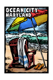 Ocean City, Maryland - Beach Chair - Scratchboard Poster by  Lantern Press