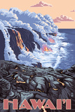 Hawaii - Lava Flow Scene Print by  Lantern Press