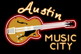 Austin, Texas - Neon Guitar Sign Prints by  Lantern Press